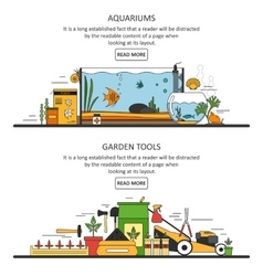 Aquarium and garden tools banners in flat style vector image