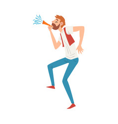 Bearded man blowing party horn man celebrating vector