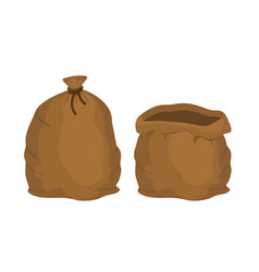 big knotted sack full and empty brown textile bag vector image