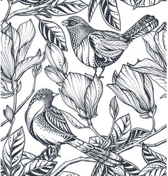 black and white floral seamless pattern of vector image