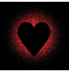 Black heart on the red glittering background vector