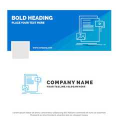blue business logo template for data document vector image