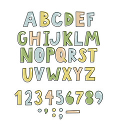 Bold handwritten childish font simple colorful vector