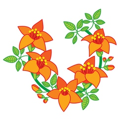 Branch of Orange Red Flower vector image