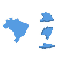 brazil isometric map country isolated on a white vector image