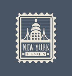 Brooklyn bridge on american postage stamp famous vector
