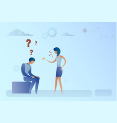 business man and woman with question mark vector image