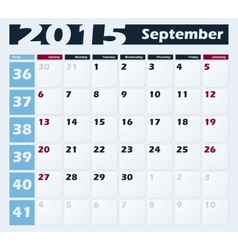 Calendar 2015 September design template vector image