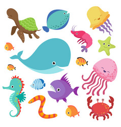 Cartoon childrens aquarium and wild sea fishes vector