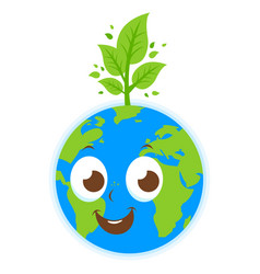 cartoon planet earth and tree vector image
