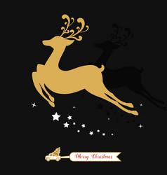 Christmas golden decoration gold reindeer vector