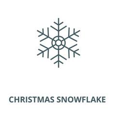 christmas snowflake line icon christmas vector image