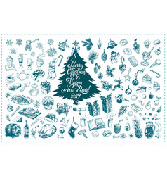 Christmas toys hand drawn icons set vector