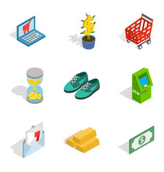 Cloth acquisition icons set isometric style vector