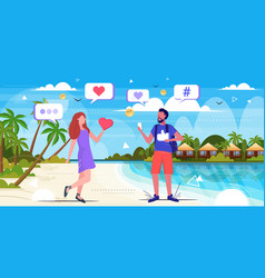 Couple having summer vacation using online mobile vector