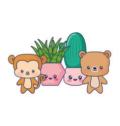 cute animals babys plants vector image