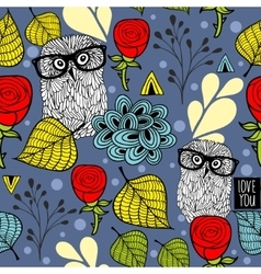 Dark night seamless background with forest owls vector