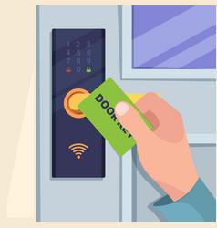 Digital card for handle door hand holding vector