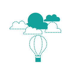 Dotted shape air balloon fly with cloud natural vector