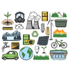 ecology plant eco energy light bulb globe icons vector image