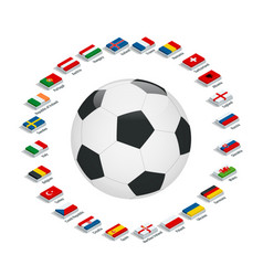 euro 2016 in france flags of european countries vector image