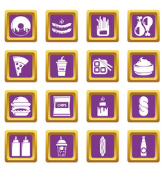 Fast food icons set purple square vector