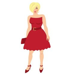figure shows a woman in a red dress with purse vector image