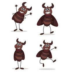 Four beetles vector