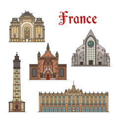 France travel landmarks facade buildings vector