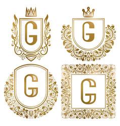 Golden vintage monograms set heraldic logos g vector