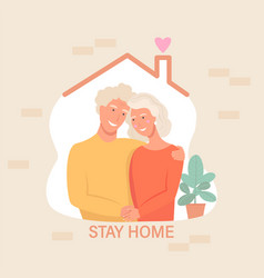 Grandparents in isolationstay home banner vector