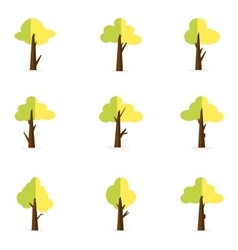 Green tree set vector
