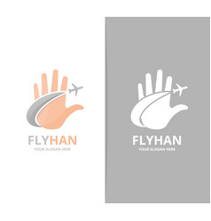 hand and plane logo combination arm and vector image
