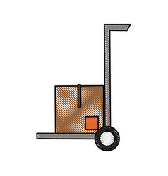 hand cart with cardboard boxes icon image vector image vector image