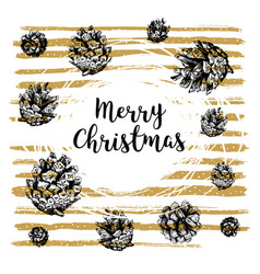 hand drawn christmas card with lettering vector image