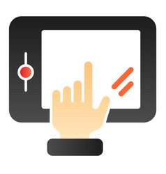 Hand touching tablet flat icon finger pointing on vector