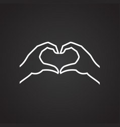 hands heart gesture thin line on black background vector image