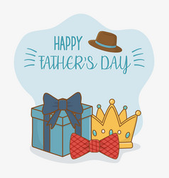 happy fathers day card with set icons vector image