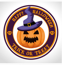 Happy halloween card with pumpkinand witch hat vector