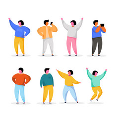 happy young people standing in different poses vector image