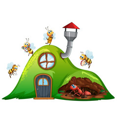 Hill house with bees flying and ant underground vector