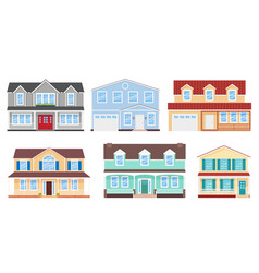 house home facade set in flat design vector image
