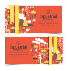 industrial red banners vector image