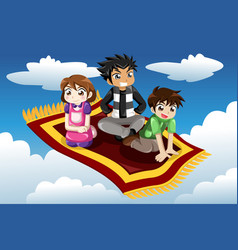 Kids riding on a flying carpet vector