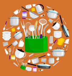 kitchenware icons setsteel kitchen vector image