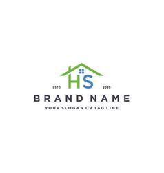 Letter hs home logo design vector