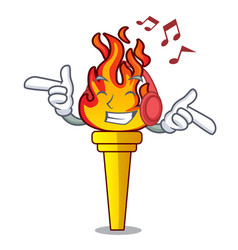 Listening music torch mascot cartoon style vector