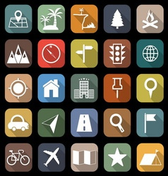 Location flat icons with long shadow vector