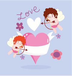 love winged cupids hearts flowers magic romantic vector image