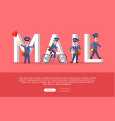 Mail conceptual web banner with cartoon postman vector